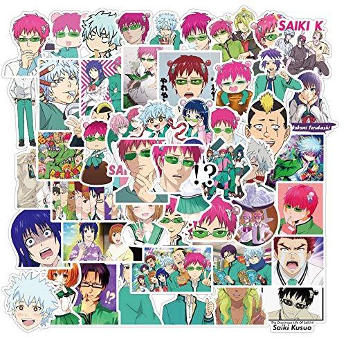estéticas 10 / 50pcs Pegatinas de Anime La Vida desastrosa de Saiki K Pegatinas Saiki Kusuo Pegatina para Portátil Patineta Motocicleta Niños (Color : Random 10PCS)