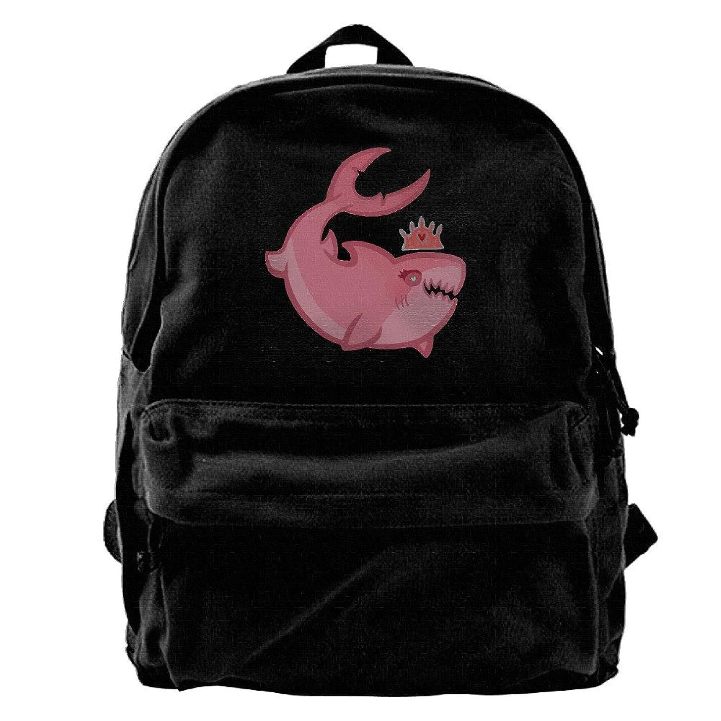 Shark Princess Boys And Girls Large Vintage Canvas Backpack School Laptop Bag Hiking Travel Rucksack