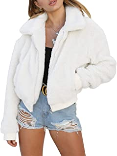 AKEWEI Women Short Faux Fleece Coat Casual Shaggy Jacket with Pockets Warm Winter Zip-Up Fluffy Outwear