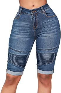 Creazrise Womens Elastic High Waist Ripped Hole Washed Distressed Knee Length Curvy Stretch Short Jeans