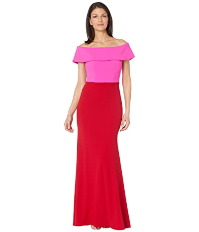 Betsy & Adam Long Ots Cuff Two-Tone Crepe Gown