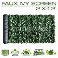 ColourTree Artificial Hedges Faux Ivy Leaves Fence Privacy Screen Cover Panels Decorative Trellis - Mesh Backing - 3 Years Warranty