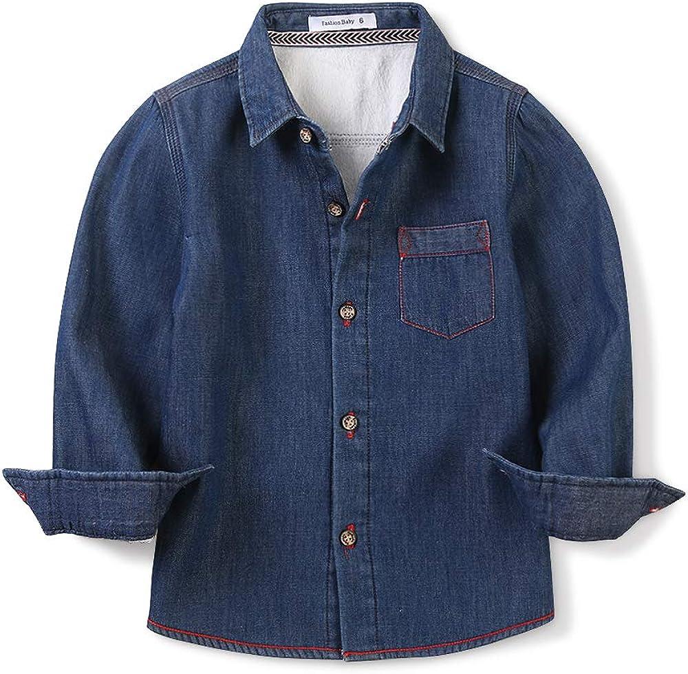 OCHENTA Boy's Warm Fleece Lined Denim Shirt
