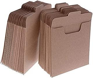37YIMU 50 Pack CD Sleeves Kraft Paper DVD Envelopes, Khaki Blank CD Paper Cardboard, CD Kraft Paper Storage Holder Covers Packaging Sleeves - 4.9 x 4.9 Inch