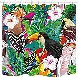 lovedomi Tropische Pflanze Bananenleine Duschvorhänge Für Papagei Vogel Tukan Polyester Stoff wasserdichte Blumen Hibiskus Duschvorhang wasserdichte Bad Duschvorhang Haken Enthalten