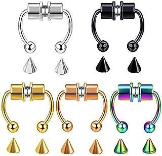 5pcs Magnetic Septum Ring,Magnetic Septum Nose Ring,Magnetic Septum Nose Ring Hoop Horseshoe Rings