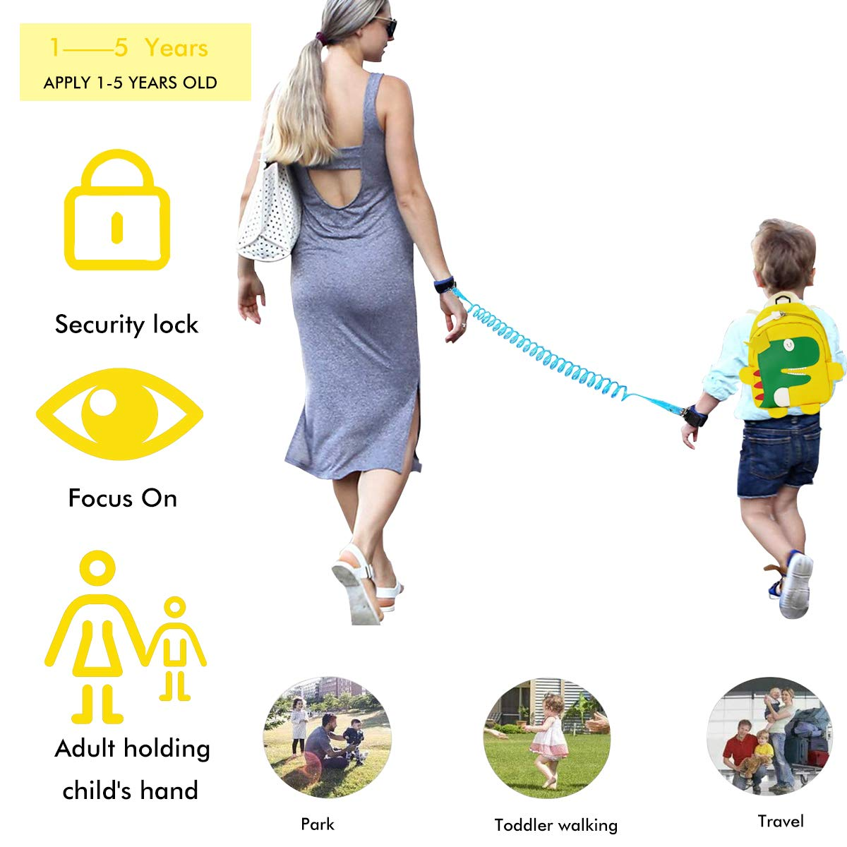 3PCS Toddlers Child Leash Backpack Set, Anti Lost Wrist Link, Kids Walking Wristband Safety Harness Leash and Cute Dinosaur Bag for Walking Baby, Boy, Girl