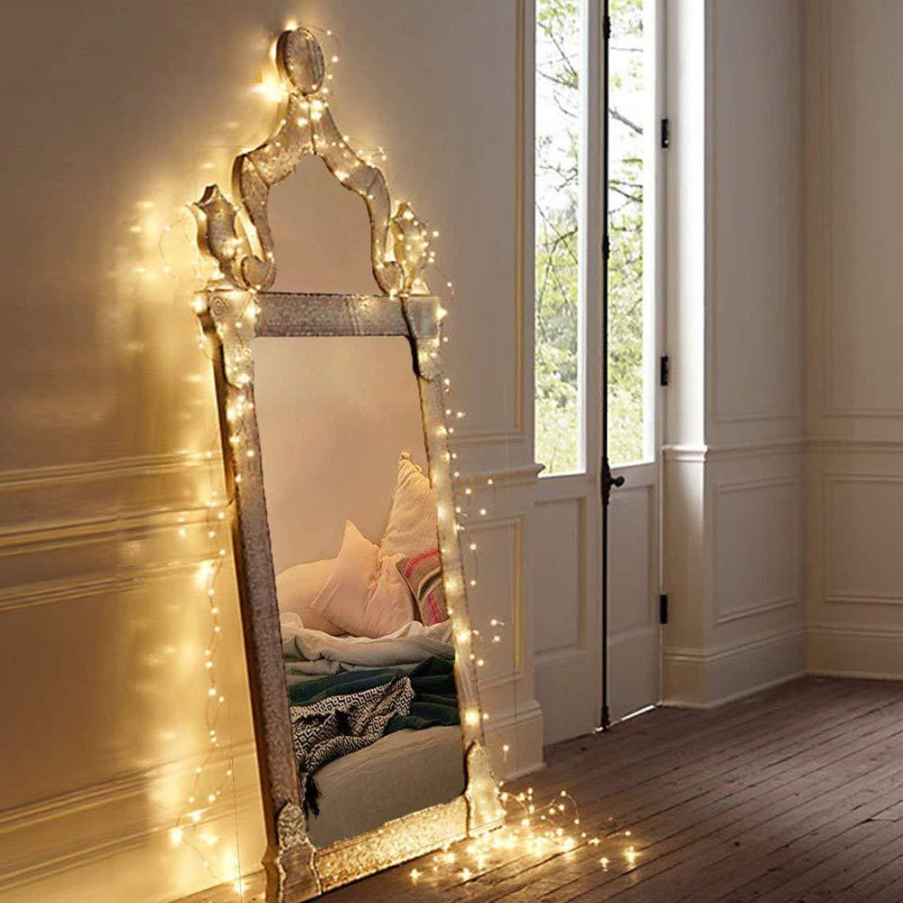 MOVEONSTEP Luces de Cadena 100 LED Funciona Con Pilas Impermeable 11M 8 Modos Guirnalda Luminosa con Función Temporizador Fiesta de Navidad Decoración de Halloween Iluminación-Blanco Cálido: Amazon.es: Iluminación