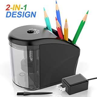 Electric Pencil Sharpener Heavy-duty Helical Blade Colored Pencil Sharpener with Adapter/Battery Operated for No.2/ (6-8mm) Pencils with Auto Stop & Cleaning Brush in School/Classroom/Office