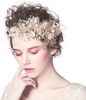 "Bocianelli 2 Piece Wedding Headpieces Flower Wreath Set, Headband + Clip, Pearls Headband Tiara, Crystals Hair Accessories for Bride Bridesmaid, Gold (7.9"" x 3.5"")"