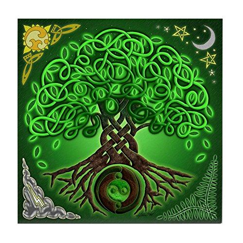 CafePress Circle Celtic Tree of Life Tile Coaster, Drink Coaster, Small Trivet