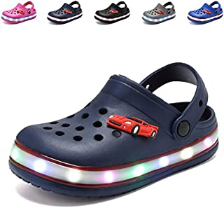 Nishiguang Cute Garden Shoes LED Clogs Flash Lighted Sandals Shoes Summer Beach Shoes Breathable Slip-on Slippers for Children Girls Boys
