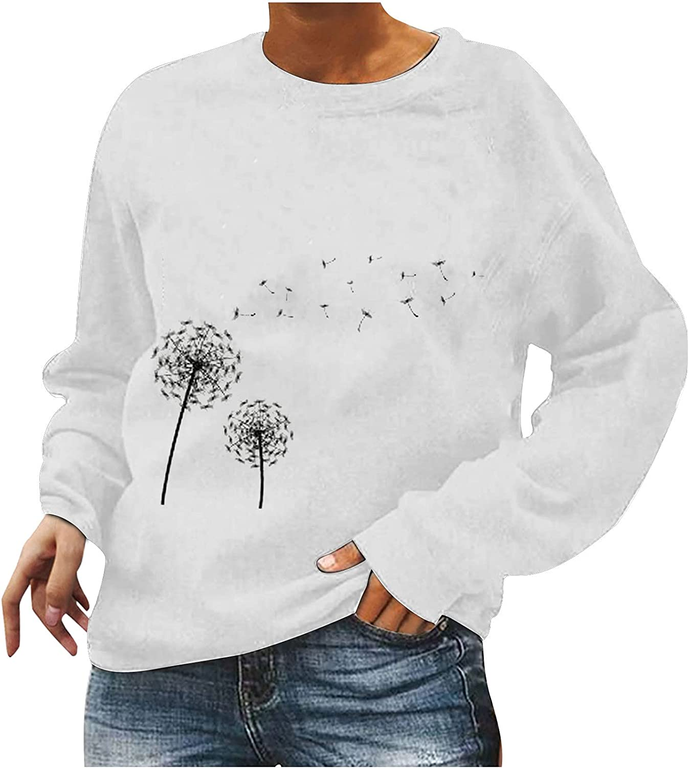 Long Sleeve Shirts for Women Dressy Casual Dandelion Prints Fall Sweaters Loose Fit Crewneck Sweatshirts Aesthetic Top