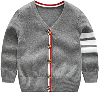 Tonwod Baby Boy Cardigan, Long Sleeve V-Necked Knitted Button Sweater Coat Spring Autumn Tops for 1-9Y
