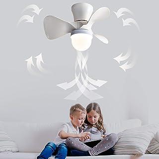 IYUNXI サーキュレーター LEDシーリングファン 照明器具 シーリングライト 小型 天井ファン付き照明 風量調節 調色 静音リモコン付 4-6畳 居間 寝室 おしゃれ 和室 3枚葉扇風機 (白)