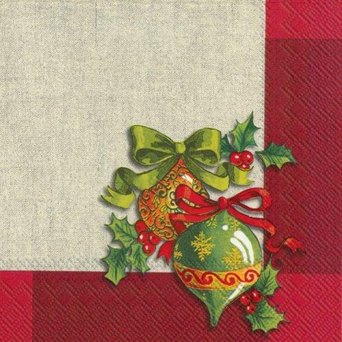Ideal Home Range, tovaglioli di carta decorativi, ornamenti su lino rosso, 20 pezzi da Ideal Home Range