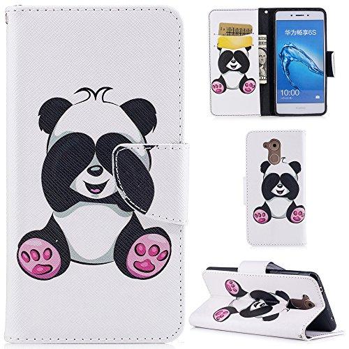Ooboom® Huawei Honor 6C Hülle Flip PU Leder Schutzhülle Handy Tasche Hülle Cover Wallet Brieftasche Standfunktion für Huawei Honor 6C - Panda