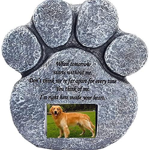 ZXCASD Gedenkstein für Haustiere, herzförmig, personalisierbar, handbedruckt, mit Windspiel und Trauergedicht für Hund oder Katze, Haustierverlust