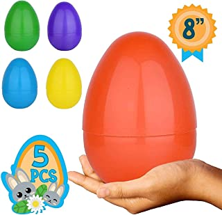 None Totem World 5 Jumbo Fillable Plastic Easter Egg Hunt Party Supply - 8-Inch Easter Egg in Assorted Colors