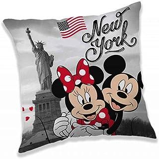 Disney Jerry Fabrics 18CS292 - Cojín infantil (40 x 40 cm), diseño de Mickey y Minnie Mouse en Nueva York