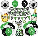 AYUQI Cumpleaños de Decoraciones Fútbol Tema Fiesta de Cumpleaños,Corona Globo Cake Topper, Decoraciones de Fiesta para Niño, Adultos