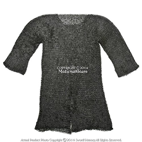 Medieval Gears Brand Black X-Large Size Hauberk Round Ring Riveted Medieval Chainmail Shirt SCA LARP