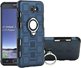QiongNi Case for Samsung SM-G611FF/DS Galaxy J7 Prime 2 / SM-G611L Galaxy On7 Prime 2018 SM-G611K SM-G611S SM-G611F Case Cover + 360 Degree Rotating Ring Holder Kickstand Blue