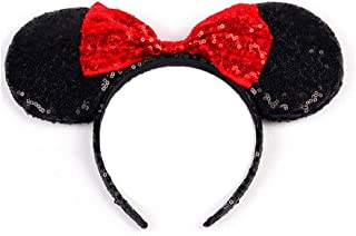 WLFY Mickey Mouse Minnie Mouse Sequin Ears Headbands Butterfly Glitter Hairband (Sequin red)