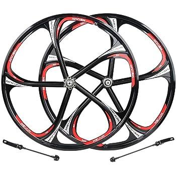 VTT V/élo Roues 27.5 Pouces VTT Frein /à Disque Jeu de Roues Quick Release 5 Palin Roulement 8 9 10 Vitesse 100mm,E-26inch AIFCX 26 Pouces v/élo Wheelset