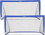 femor Portable Soccer Goal Nets, 6' x 3' Fold-Up Soccer Target Goal with Carrying Bag for Kids and Teens, Backyard Games and Practice, Set of 2