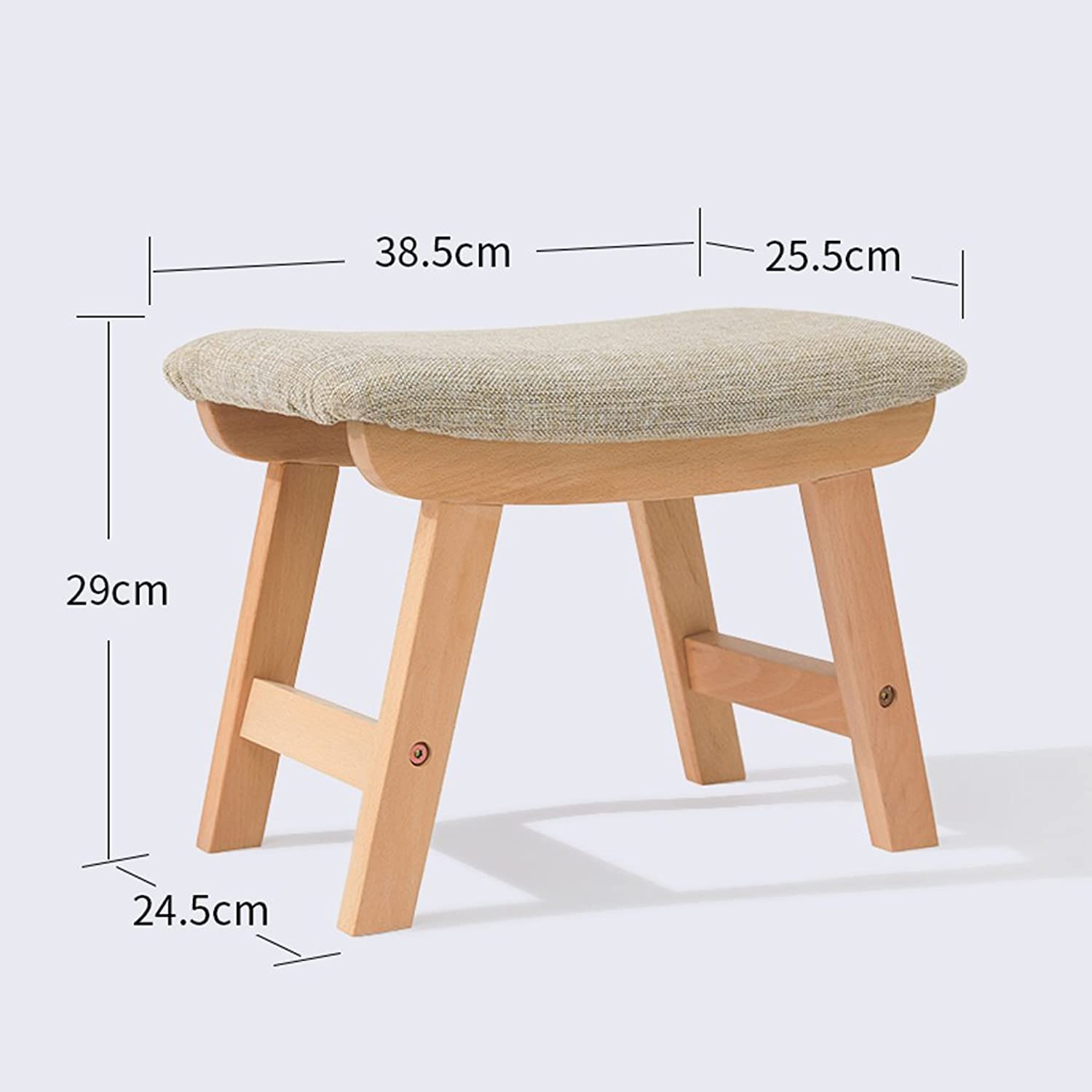 Stools Solid Wood Stool Fabric Home Stool Fashion Creative Sofa Stool Small Bench Living Room Simple Adult shoes Bench(L38.5cmW25.5cmH29cm) (color   A, Style   Lattice)
