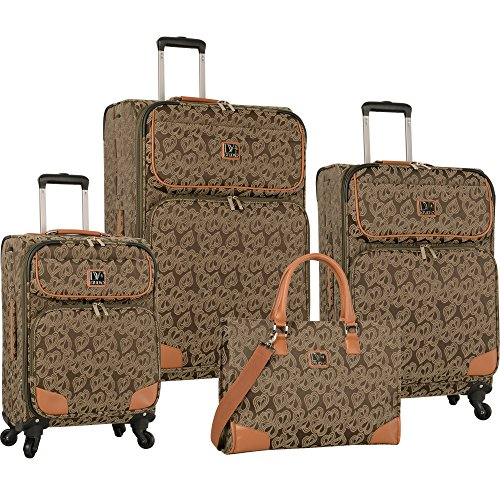 Diane Von Furstenberg Hearts Jacquard 4 Piece Luggage Set, Canvas Olive