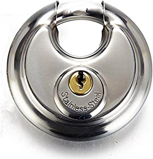 Stainless Steel Disc Padlock with 2 Keys, The Weatherproof, Waterproof, Rustproof and Stable Circular Lock with Armor Outer Shell Fit Fence Shed Garage Truck Storage Warehouse Most Storefront Gate