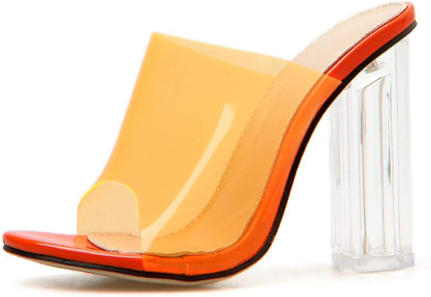 PVC Sandals Crystal Open Toed Sexy Thin Heels Crystal Women Transparent Heel Sandals Slippers Pumps