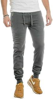 DEMONA Sport Pantalone 7680 Felpato Tuta Sportivo Uomo Ragazzo Jogging Fitness Palestra Autunno Inverno Caldo Nero con Tasche E Zip