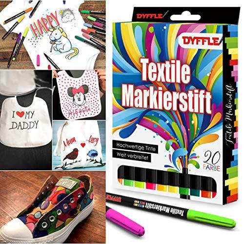 DYFFLE Textilstifte Waschmaschinenfest | 20 Stoffmalstifte Waschfest, Textilfarbe Stifte, Textilmalstifte Für Textilien (wie Z.b. DIY T-Shirt, Schuhe Und Beutel) Inkl. 4 Neon UV Stifte Shirt