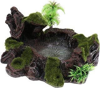 MagiDeal Plant Moss Decorative Resin Roack Bowl Food Water Dish Feeder Plate for Terrarium Reptile Tanks