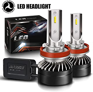 H8/H9/H11 Hi/Lo Adjustable Combo Package LED Headlight Bulbs Fog Light Kit with Fan, DOT Approved AUSI D6 Series Mini Design Upgraded CSP Chips 6000K Xenon White - 2 Pack