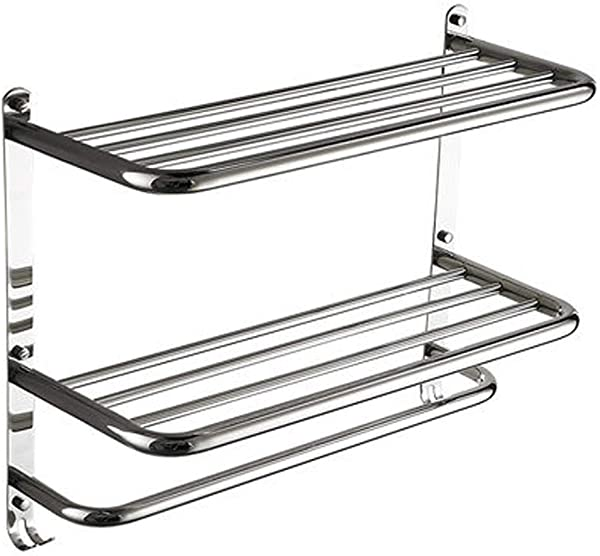 AQJD Chrome Finish Towel Shelf For Bathroom 2 Layer Wall Mount Rack With Towel Bars Stainless Steel QA 20 Inch