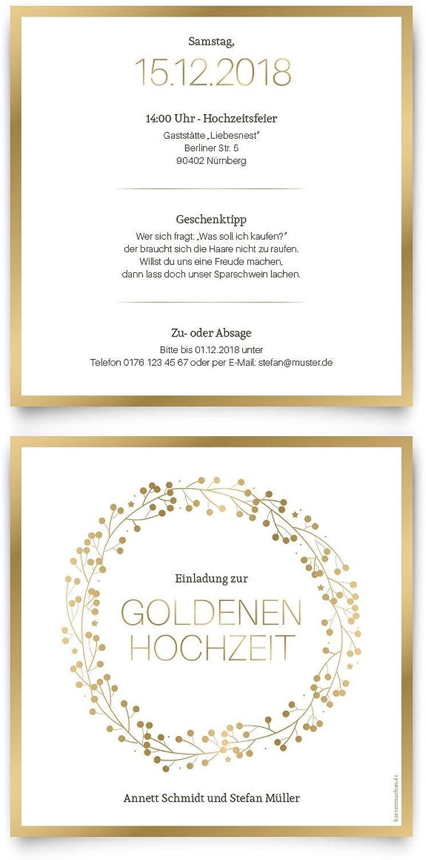 40 x Goldene Goldene Goldene Hochzeit Einladungskarten Goldhochzeit 50 Jahre Hochzeitseinladungen - Goldkranz B07C64Y2HJ  | Genialität  9c52a3