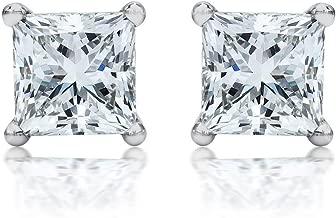 1 Carat Solitaire Diamond Stud Earrings Princess Cut 4 Prong Push Back (I-J Color, I2 Clarity)