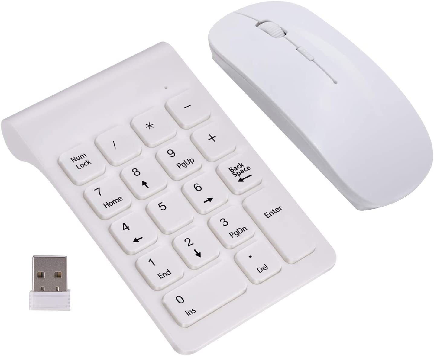 Wireless Numeric Keypad, TRELC Mini 2.4G 18 Keys Number Pad, Portable Silent Financial Accounting Numeric Keypad Keyboard Extensions with Wireless Mouse for Laptop, PC, Desktop, Notebook (White)