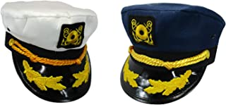 Nicky Bigs Novelties Yacht Admiral Boater Captain Hat, Blue/White/Gold, (Set of 2), One Size