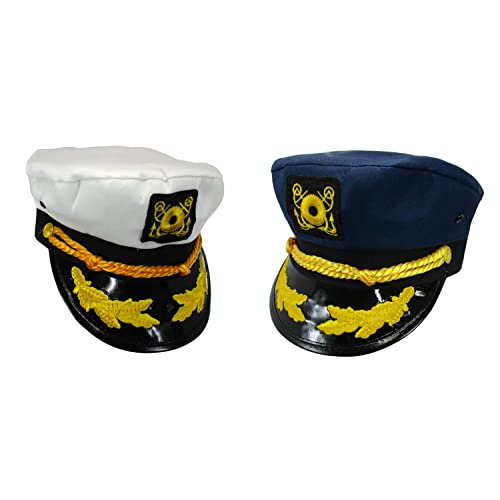 Nicky Bigs Novelties Sailor Ship Yacht Boat Captain Hat Navy Marines Admiral  Blue White Gold 2 2072849fea1d