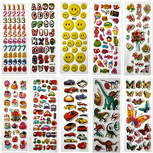 250+ Kids Stickers Creative 3D Stickers, 10 Sheets Variety of Stickers for Gratifying Gifts Scrapbooking Including Animals, Numbers, Fruits, Car and More