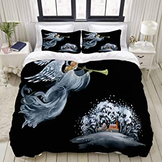 """Mokale Bedding Duvet Cover 3 Piece Set - Angel in The Sky - Decorative Hotel Dorm Comforter Cover with 2 Pollow Shams - King 104""""X90"""""""