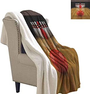 Bowling Party Flannel Double Blanket Alley with Red Skittle in Center Target Score Winning Competition Reversible Blanket for Bed and Couch Pale Brown Red White Throw Size