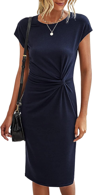 Dokuritu Women's Short Sleeve Crew Neck Pencil Dress, Solid Color Twist Front Stretchy Bodycon Dress