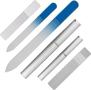 爪やすり ガラス製 爪磨き つめみがき ネイルケア用品 大小3個セット j-cheng (ブルー)