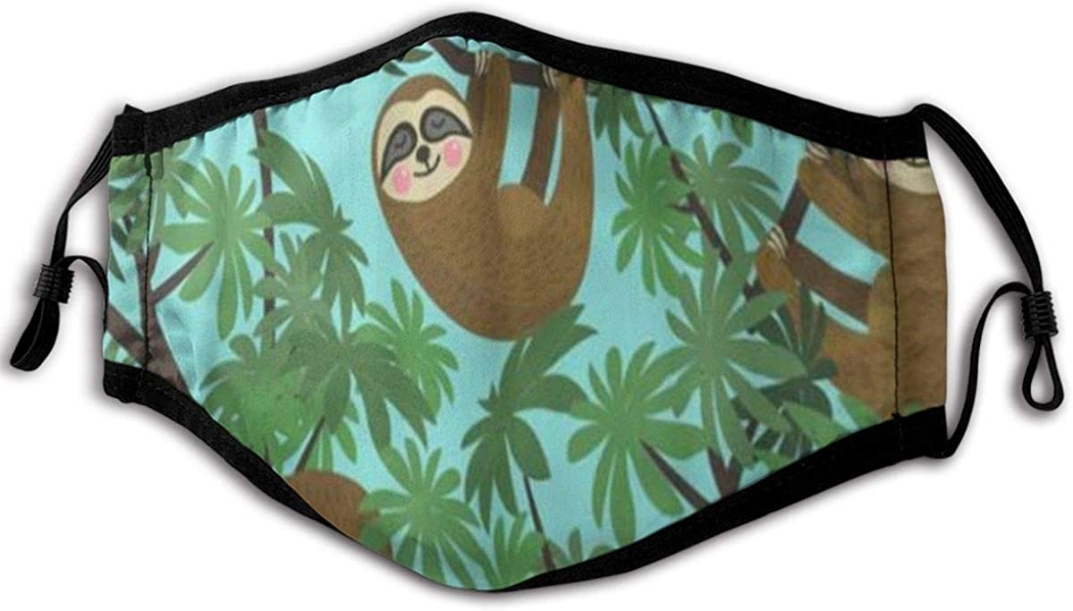 WINCAN Face Cover,Gray Bear with Cute Jungle Sloths On Blue Green Kids Rainforest Tropical Animal,Balaclava Unisex Reusable Windproof Anti-Dust Mouth Bandanas Neck Gaiter with 2 Filters